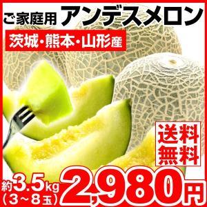 メロン 約3.5kg 茨城県産他 アンデスメロン ご家庭用 青肉メロン 果物 食品|seikaokoku