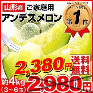 メロン 「数量限定」 約4kg 山形県産 アンデスメロン 3〜6玉 ご家庭用 訳あり ネットメロン 露地栽培 青肉メロン 数量限定 果物|seikaokoku