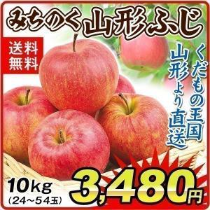 りんご 山形産 みちのく 山形ふじ(10kg) ご家庭用 ふじ サンふじ 林檎 フルーツ 果物 国華園|seikaokoku