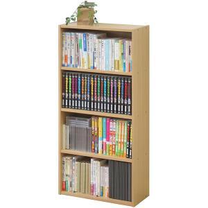 《文庫本・新書・コミック・CD・DVD・BDを効率的に収納》不二貿易 コミック&DVD専用ラック(W418×D185×H890mm)HP9418BEビーチ(2個組)|seikatsu-oasis