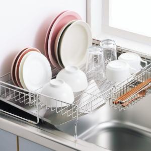 幅の広がるステンレス スライド水切り 47cm DX|日本製 キッチン収納 洗い物置き 食器置き シンク台 水切りかご 水きり 台所収納 水切りカゴ シンクサイド の写真