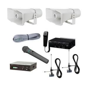 拡声器 40W 選挙用車載ワイヤレスセット 12V CV-381/25A×2 LS-404 NDA-402A WM-3400 AA-3800B×2 NDW-301|seiko-techno-pa