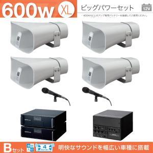 拡声器 600W 選挙用車載アンプビッグパワーセットB 12V H-542/200×4 LS-310×4 NB-3002D×2 AKN-02 LB-710×2 NX-9500 NX-R303 MD-58×3|seiko-techno-pa