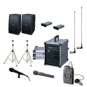 拡声器 200W PLL800MHz帯 選挙用スピーチセット CGA-200DA DU-8200×2 AA-382×2 EWS-120×2 ST-25×2 MD-58 WM-8100A WM-8400|seiko-techno-pa