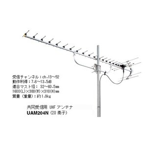 共同受信用 UHFアンテナ マスプロ 20素子 UAM204N 13〜52ch|seiko-techno