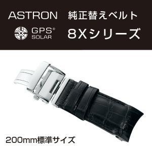 アストロン ASTRON 8Xシリーズ 純正替えベルト かん幅22mm 標準200mmタイプ ブラックベルト シルバー尾錠 R7X05AC|seiko3s