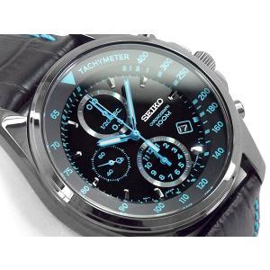 正規品 逆輸入 SEIKO セイコー クォーツ 高速クロノグラフ メンズ 腕時計 ブラック×ブルーダイアル ブラックレザーベルト SNDD71P1 ネコポス不可 seiko3s