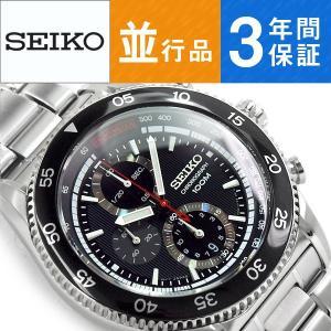 逆輸入 SEIKO セイコー クォーツ クロノグラフ メンズ腕時計 ブラックダイアル ステンレスベルト SNDG57P1【ネコポス不可】 seiko3s