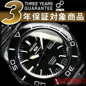 逆輸入SEIKO5 SPORTS セイコー5 メンズ 自動巻き 腕時計 オールブラック ステンレスベルト SNZH59K1【ネコポス不可】 seiko3s