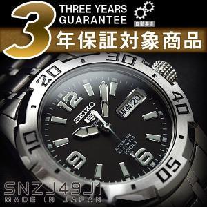 日本製逆輸入SEIKO5SPORTS セイコーファイブ デイデイトカレンダー メンズ自動巻き腕時計 ブラックダイアル シルバーステンレスベルト SNZJ49J1【ネコポス不可】 seiko3s