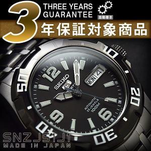 日本製逆輸入SEIKO5SPORTS セイコーファイブ デイデイトカレンダー メンズ自動巻き腕時計 ブラックベゼル ブラックダイアル シルバーステンレスベルト SNZJ51J1 seiko3s