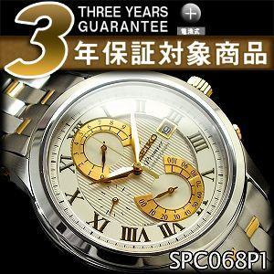 セイコー クロノグラフ 逆輸入SEIKO Premier セイコー プルミエ メンズ ダブルレトログラードクロノグラフ 腕時計 シルバー×ゴールド SPC068P1【ネコポス不可】 seiko3s