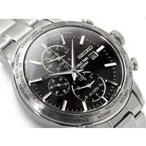 逆輸入 SEIKO セイコー クォーツ GMT ワールドタイム アラーム機能搭載 メンズ 腕時計 ブラックダイアル シルバー ステンレスベルト SPL049P1 seiko3s