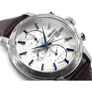 逆輸入 SEIKO セイコー GMT ワールドタイム アラーム機能搭載 クォーツ メンズ 腕時計 ホワイト×ブルーダイアル ダークブラウン レザーベルト SPL051P1 seiko3s