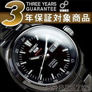 逆輸入SEIKO5 セイコー スポーツ メンズ 自動巻き式腕時計 オールブラック ステンレスベルト SRP267K1【ネコポス不可】 seiko3s