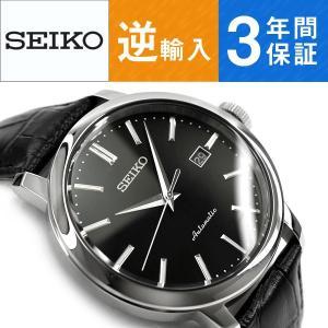 逆輸入SEIKO セイコー 自動巻き 手巻き付き機械式 メンズ 腕時計 ブラックダイアル ブラック レザーベルト SRPA27K1|seiko3s