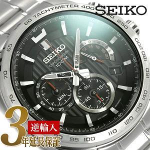 SEIKO 逆輸入セイコー センタークロノグラフ  メンズ クォーツ 腕時計 ブラック SSB299P1|seiko3s