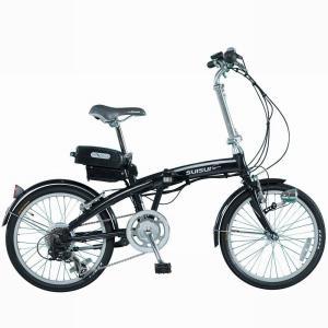 20インチ折りたたみ電動アシスト自転車 SUISUI スイスイ 軽量アルミホイール採用スポーツタイプ ブラック 6段変速ギア|seileds
