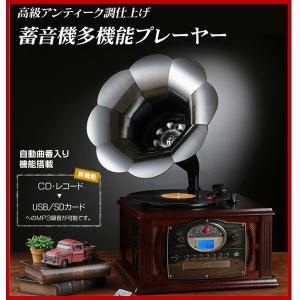 蓄音機 多機能プレーヤー CDプレーヤー マルチプレーヤー レコード USB SDカード ダビング コピー 録音 レトロ 送料無料|seileds