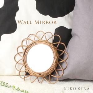 ラタン 籐 丸い 鏡 壁掛け 丸ミラー 鏡 ミラー おしゃれ ウォール 壁掛け おしゃれ トイレ ナ...