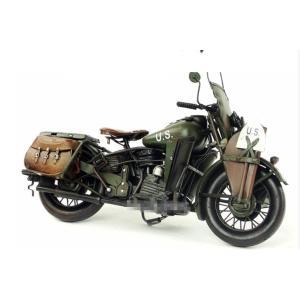 ハーレーダビットソン ポリスバイク HARLEY-DAVIDSON 1942 WLA レトロ ブリキ製 ビンテージバイク (全て手作り)mot61