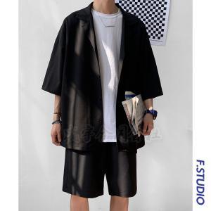 セットアップ メンズ 半袖 夏 大きいサイズ スーツ風 ブラウス ショートパンツハーフパンツ 無地 薄手 上下セット カジュアル スポーツ ルームウェア 父の日|seiu