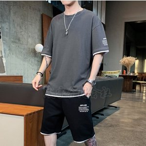 上下セット メンズ ジャージ 半袖 Tシャツ ハーフパンツ セットアップ 春夏 大きいサイズ スウェット 運動着 スポーツウェア ルームウェア カジュアル 8色|seiu