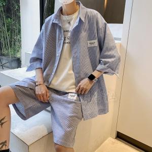 ファッション 夏 メンズ 上下セットアップ 半袖 ストライプ柄 シャツ&ハーフパンツ ショート丈 薄手 カジュアル スポーツ ストリート系 男性 かっこいい|seiu