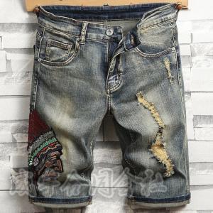 刺繍プリント メンズ ショートパンツ デニム 半ズボン 短パン ハーフパンツ デニムパンツ 膝丈 ダメージ ジーンズ ジーパン スリム カジュアル 男性用 30代 seiu