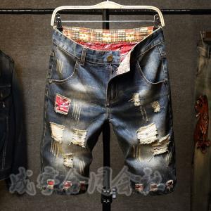 夏新作 デニム ショートパンツ メンズ ハーフパンツ ショーツ ストレッチ 短パン 半ズボン デニムパンツ 膝丈 大きいサイズ ダメージ加工 ウォッシュ 男性 seiu