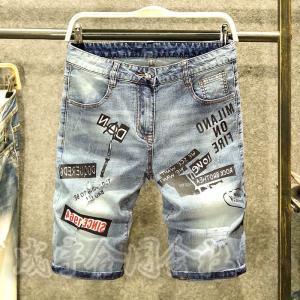 ダメージ加工 デニムジーンズ ショートパンツ 刺繍 アップリケ メンズ デニムパンツ ストレッチ 短パン半ズボン ハーフパンツ スリム 個性 ボトムス 夏新作 seiu