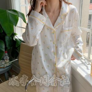 2色 パジャマ レディース ロングパンツ ルームウェア 上下セット 前開き パジャマ チェリー柄 ゆったり 韓国風 寝巻き 部屋着 寝間着 可愛い 女性 10代20代30代|seiu
