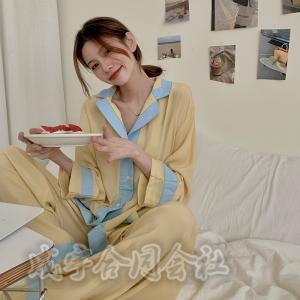 2COLOR レディース ルームウェア 長袖パジャマ 前開き  ゆったり ロングパンツ シャツパジャマ 上下セット 韓国風 寝巻き 部屋着 寝間着 女性 可愛い 秋新作|seiu