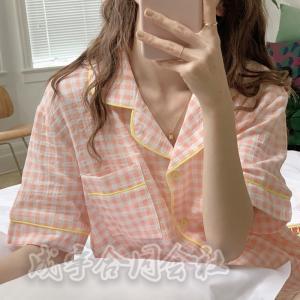 全5色 パジャマ レディース ルームウェア 半袖 前開き セットアップ 上下セット ショートパンツ 綿 チェック柄 パジャマ 可愛い 部屋着 韓国風 寝巻き|seiu