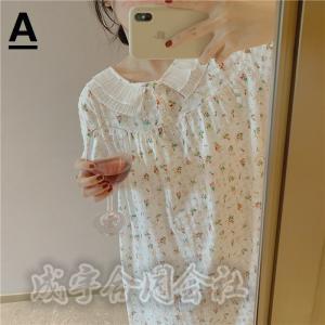 花柄ワンピース パジャマ レディース 半袖 ルームウェア ゆったり ロングワンピース 薄手 女性 可愛い 韓国風 寝巻き 部屋着|seiu