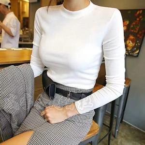 コットン Tシャツ レディース 30代 きれいめ 長袖 カシュクール プルオーバー フィット タイト シンプル スリムトップス 着痩せ アウター  女性 上品 デート|seiu
