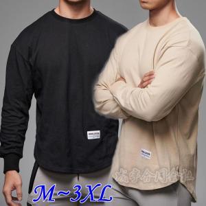 Tシャツ メンズ トップス カットソー クルーネック ティーシャツ 長袖 大きいサイズ スポーツウェア フィットネス トレーニング スウェット 運動着 男性 秋服|seiu