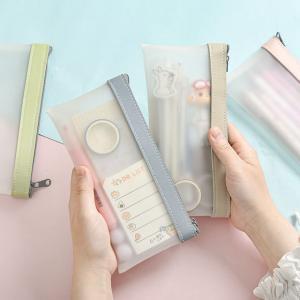 KCペンケース クリア おしゃれ 韓国 透明 シンプル コンパクト かわいい 筆箱 ふでばこ やわらかい 男子 女子 小学校 中学 高校 筆記用具 4色|seiu