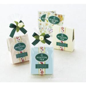 喜ばれるプチギフト・ミントンプチセット 2種類の紅茶のティーバックを、小さなバラ付きのリボンでかわい...
