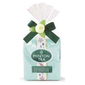 喜ばれるプチギフト・ミントンプチセット(ブルー) 2種類の紅茶のティーバックを、小さなバラ付きのリボ...