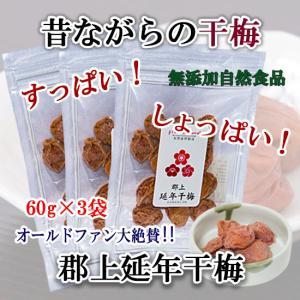 延年 干梅 無添加 無着色 国産 梅使用 3袋セット 昔ながらの干し梅 送料無料 (40971) sekainoyamgen