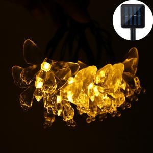 Salcar 20球5M イルミネーションライト ソーラー 胡蝶形 2モード切替 太陽光充電 防水 電球色|sekey-online