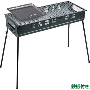 外山産業 グリーンライフ BBQコンロ 80cm 鉄板付き バーベキュー CBN-800|sekichu