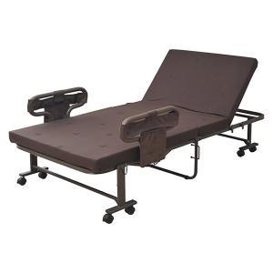 直送 代引/日時指定不可 手すり付折りたたみベッド シングル BAS-1S(DBR) 基本送料無料|sekichu