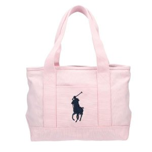 POLO RALPH LAUREN ポロ ラルフローレン トートバッグ 950189 PINK/NAVY PP SCHOOL TOTE MD|sekido