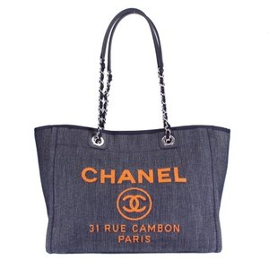 CHANEL シャネル トートバッグ A67001 Y61180 C1954 ブルー/オレンジ ドーヴィルライン sabac|sekido