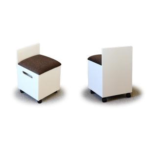 ドレッサー用椅子 箱椅子I 収納付き キャスター付き ホワイト色 選べるファブリック 送料無料|sekimotokagu