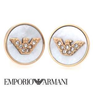 EMPORIO ARMANI エンポリオ アルマーニ 丸型 ピアス ステンレス イーグルロゴ ラインストーン付 ピンクゴールド EGS2311221 sekine
