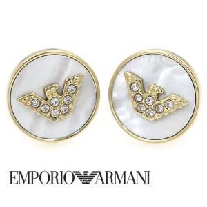 EMPORIO ARMANI エンポリオ アルマーニ 丸型 ピアス ステンレス イーグルロゴ ラインストーン付 ゴールド EGS2354710 sekine