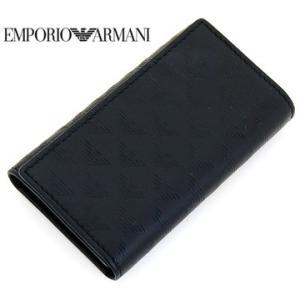 EMPORIO ARMANI  エンポリオアルマーニ ロゴ型押しレザー キーケース ブラック YEMG68 YC043 80001 sekine